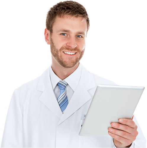 Male physician holding tablet